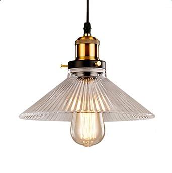 Unimall Suspension Vintage Luminaire Industriel Abat-jour en Verre Lampe Style  Plafonnier Culot Edison E27 9ff04af63eb2