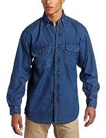 Key Apparel Men's Big & Tall Long Sleeve Premium Denim Enzyme Washed Shirt