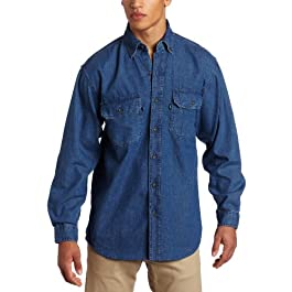 Men's Big and Tall Long Sleeve Premium Denim Enzyme Washed Shirt