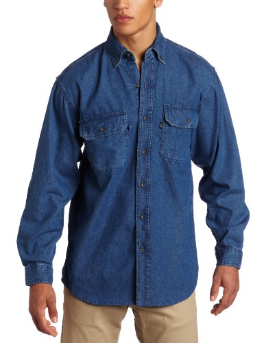 Key Apparel Men's Big-Tall Long Sleeve Washed Denim Shirt, Denim, 3X-Large-Regular