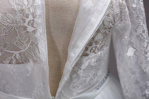 Birdfly 5 Robe Robe De Demoiselle D'honneur Formelle À Manches Longues Couleur Unie Mariée Balle Pour Les Filles Juniors 4-13t Blanc