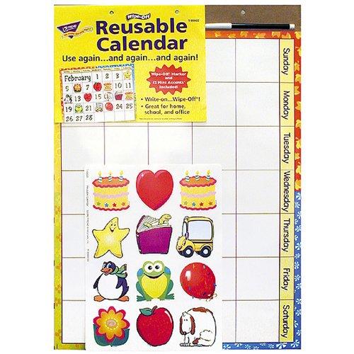 Trend Enterprises Reusable Calendar (Cling Accents) Wipe-Off Kit (3 Piece)