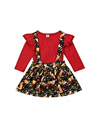 itifu Baby Red Ruffle Long Sleeve Romper Fox Print Overalls Skirt Outfit Clothes