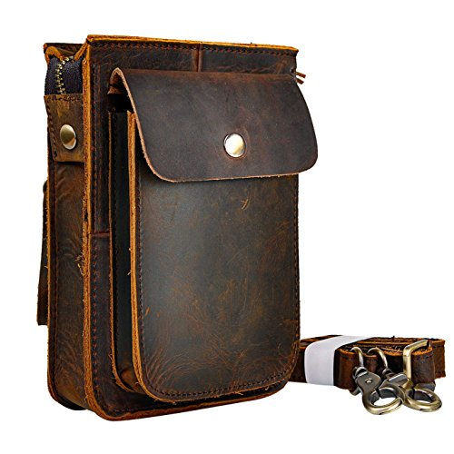 Le'aokuu Mens Genuine Leather Fanny Messenger Shoulder Satchel Waist Bag Pack (Dark - Snap Belted