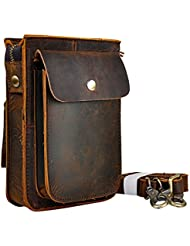 Leaokuu Men Leather Fashion Small Messenger Crossbody Bag Designer Fanny Waist Belt Pack Phone Cigarette Case...