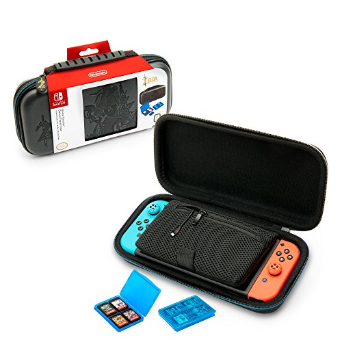 Nintendo Switch Deluxe Zelda Link Travel Case, Premium Hard Case Made with KoSkin Leather Embossed with Zelda Breath of the Wild Art, Designed to Protect Switch's Analog Sticks, Bonus Multi-Game Cases
