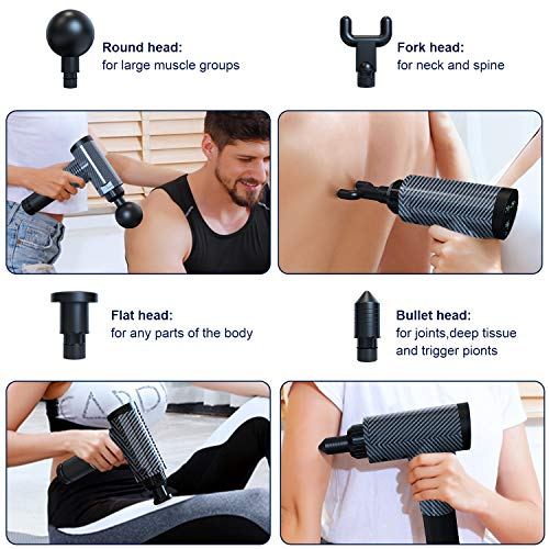 Muscle Massage Gun for Athletes,YUNDOO, Cordless Handheld Massage Gun, Body Relaxation, Massage with 4 Head Muscle Massage,Percussion Massager