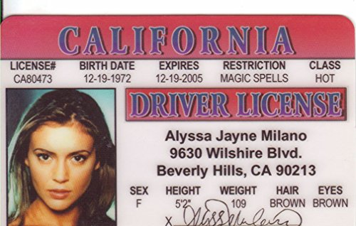 Alyssa Milano Novelty Drivers License / Fake I.d. Identification for Fans of CHARMED and Project Runway by Signs4Fun (Milano Fans)