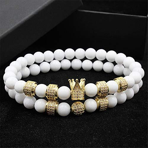 YASEF Bracelet 2pcs/Set Uxury Fashion Crown Charm Bracelet Natural Stone for Women and Mens Gifts Gift