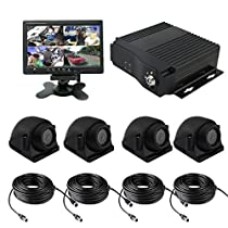 TrackSec 4 Channel AHD 720P H.264 Mobile DVR Recorder with G-sensor Car Black Box Kit - 4 Weatherproof Side View Cameras, 7 inch Car Monitor, Video Extension Cords and More