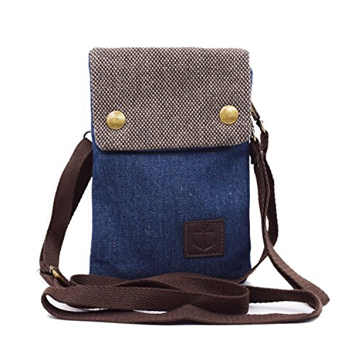 WITERY Women Cute Candy Blue Crossbody Bag/Cellphone Purse/Mini Shoulder Bag/Cellphone Pouch, Canvas 4 Bags Small Wallet with Adjustable Shoulder Strap