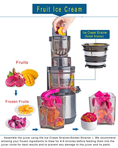 Masticating Juicer,Whole Slow Juicer Extractor by Vitalisci,Cold Press Juicer Machine,Anti-Oxidation for Fruit and Vegetable,Easy to Clean and BPA Free,(300W AC Motor/3.15'' Wide Chute/40 RPMs)-Silver by Vitalisci (Image #4)