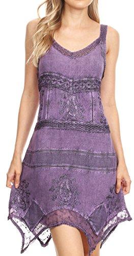 - Sakkas 5056 - Sonia Womens Sleeveless Bohemian Summer Casual Short Dress Stonewashed - Purple - L