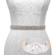 Remedios Handmade Dazzling Rhinestone Wedding Party Prom Sash Bridal Belt For Women,Blush Pink