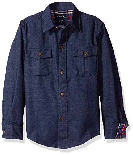Sleeve Kids Flannel Long (Nautica Boys' Long Sleeve Flannel Woven Shirt, Sport Navy, X-Large/7X)
