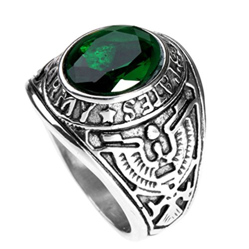 HIJONES Men's Stainless Steel United States Army Ring with Red Stone, Green Size 10