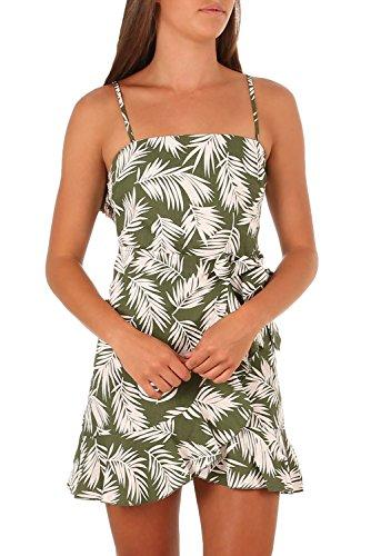 Misassy Womens Spaghetti Strap Chiffon Mini Dresses Summer Backless Criss Cross Leaf Print Boho ()
