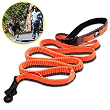 "Pettom Dog Running Bungee Leash Adjustable Nylon Elastic Leads Rope with Control Handle (78""-133"", Orange)"