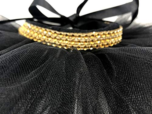 Big Pup Pet Fashion Black, Gold, Dog Tutu, Rhinestone, Fancy, Bling, Sparkly, Rhinestone, Dog Dress Up, Rhinestone, Glitter (XL Waist 20-23'')