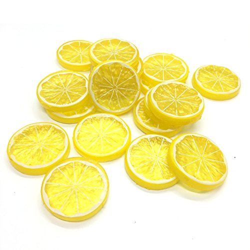 HUELE 20PCS Mini Small Simulation Lemon Slices Plastic Fake Artificial Fruit Model Party Kitchen Wedding Decoration(Yellow)