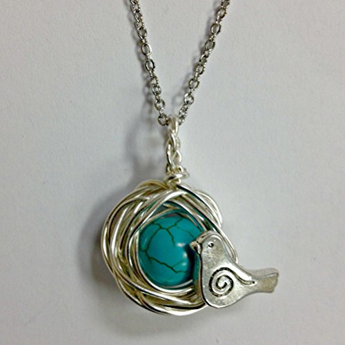 Robins Nest or Bird's Nest Pendant with 1 Turquoise Eggs on a 24 inch stainless steel link chain