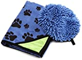 DII Dog Spaw Paw Printed Microfiber Dog Wash Mitt and Towel Set, Large, 24-Inch by 32-Inch