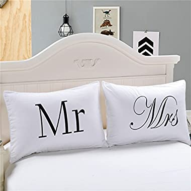 WINLIFE Black and White Pillowcases Mr & Mrs King Size Set of 2 Pillow Covers (B01)
