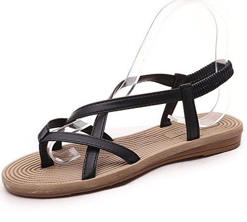 Minetom Mujer Verano Sandalias Moda Flip Flops Peep Toe Talón Plano Zapatos Chancletas Negro A