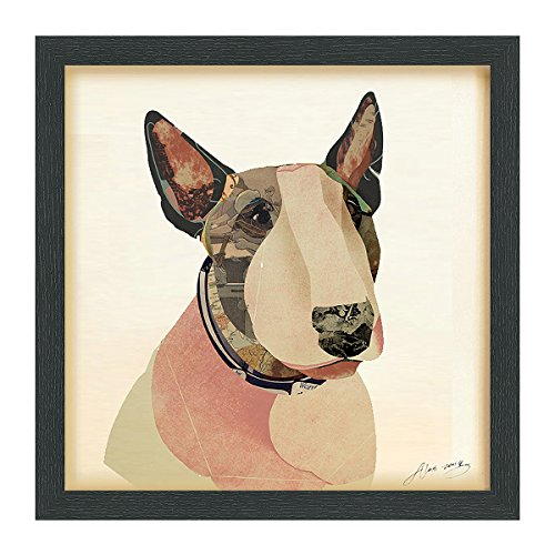 Empire Art Direct American Bull Terrier Dimensional Art Collage Hand Signed by Alex Zeng Framed Graphic Dog Wall Art, 17