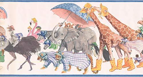 Wallpaper Border Animals Multicolored Classic 15' x 10.5