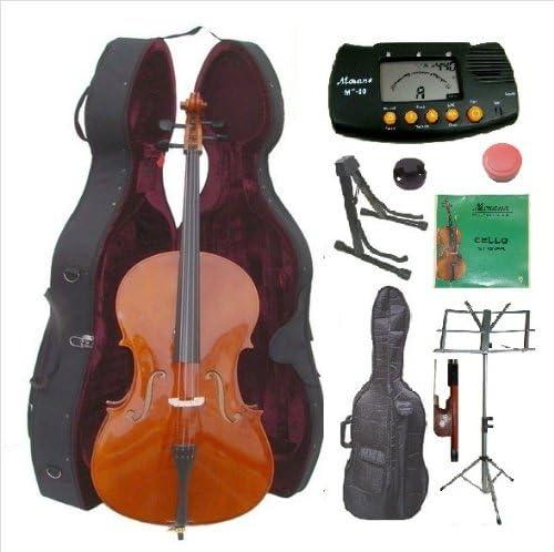 4/4 tamaño violonchelo Merano con estuche duro, bolsa y el arco + 2 juegos de cuerdas + soporte Cello + negro + soporte de música + + sintonizador de metro de silencio de colofonia: Amazon.es: Instrumentos musicales
