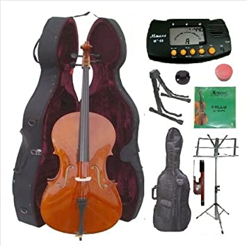 4/4 tamaño violonchelo Merano con estuche duro, bolsa y el ...