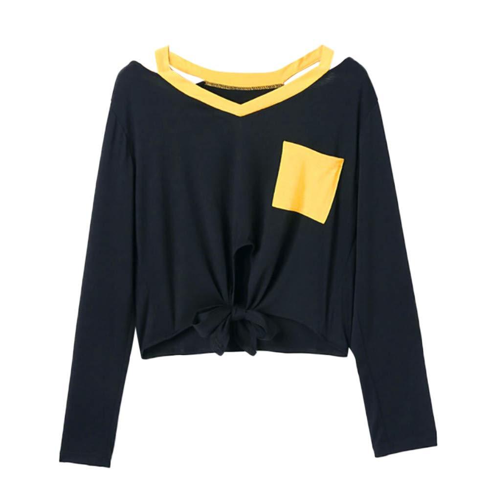 Luckycat Las Mujeres del otoño de Manga Larga Patchwork Bolsillo Sudadera Blusa Tops Camiseta: Amazon.es: Ropa y accesorios