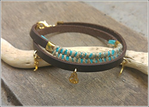 Leather Anklet Double - Women Double Leather Anklet, Turquoise Ankle Bracelet With Sea Charms