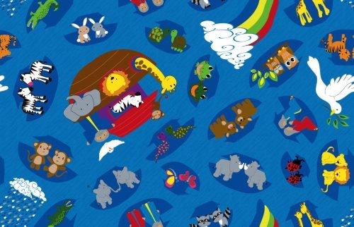 Kid Carpet FE771-48Y Noah's Animal Friends Nylon Area Rug 12' x 8' Multicolored [並行輸入品] B07HLKQC6T