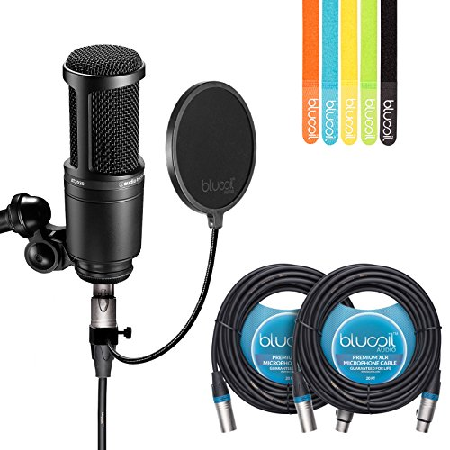 Audio-Technica AT2020 Cardioid Condenser Studio Microphone - INCLUDES - Blucoil Pop Filter, 20 Ft XLR Cable AND 5 Pack Cable Straps