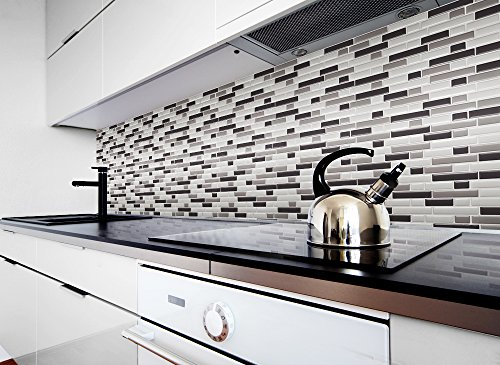 1 pezzo 28,6 x 25,3 cm diverse tonalità di grigio adesivo per piastrelle  Design 5 I Mosaico 3D Mosaico Pellicola in Pellicola Cucina Bagno Sticker  ...
