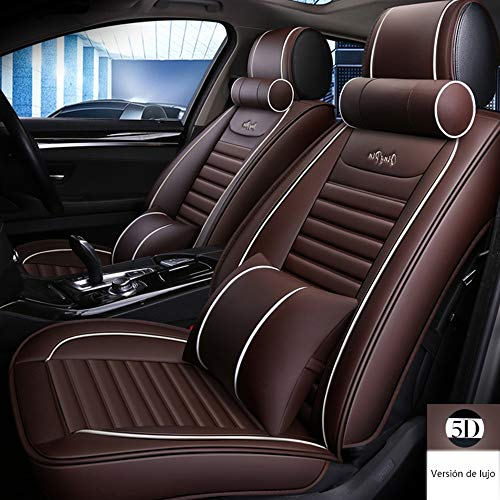 Four Seasons Car Seat Cover Leather Front Leather And Rear Seats Compatible with Airbags 5 Seat Cushions,coffeecolor: