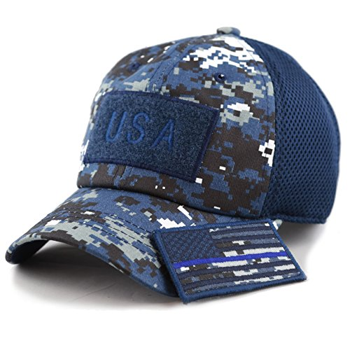 THE HAT DEPOT Low Profile Tactical Operator With USA Flag Patch Buckle Cotton Cap (USA-Blue Digi Camo-Blue Line) ()