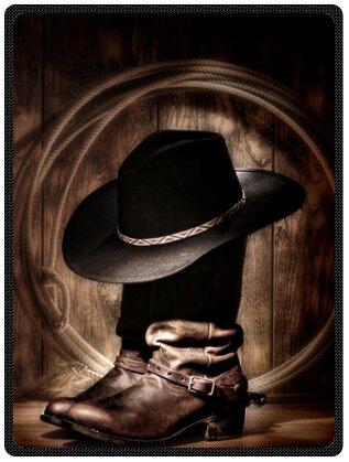 American WestロデオカウボーイブラックFelt Hat Atop WornウエスタンブーツヴィンテージスタイルデザインThrow Blanketフリース58