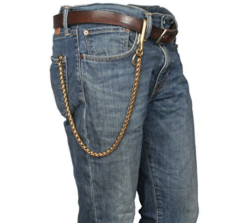 Ruth&Boaz Solid Brass Cable Chain Biker Trucker Keychain Key Jean Key Ring Wallet Chain (24.8
