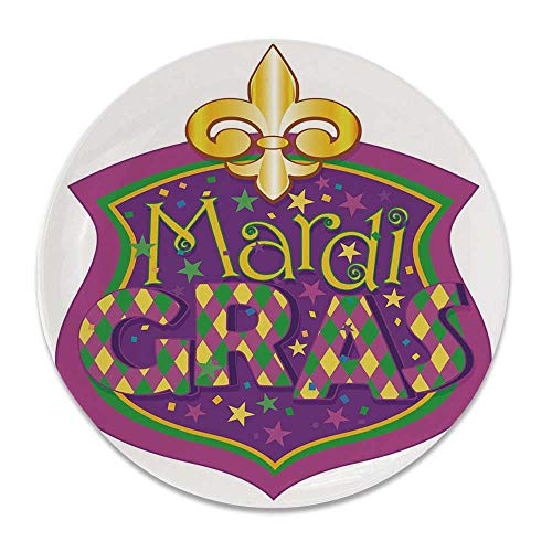 (YOLIYANA Mardi Gras Round Ceramic Decorative Plate,Blazon Design Festive Mardi Gras Inscription and Fleur de Lis Symbol Decorative for Table Or Wall,6 inch)