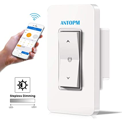 Antopm Smart Dimmer Switch - APP Wifi Remote Control Light Anywhere -  Schedule Timer Scene Mode - No Hub Required, Easy to Install (Single-Pole  Only),