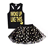 Toddler Baby Girls 100% Cotton 2pcs Outfits Birthday Princess Vest Sleeveless Top +Sparkle Sequins Dot Tutu Bubble Skirt Set