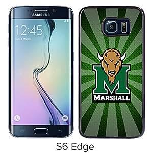 NCAA Marshall Thundering Herd 10 Black Hard Shell Phone Case For Samsung Galaxy S6 Edge G9250