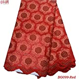 Laliva African Lace Fabric Lace Original Design Nigerian Swiss Voile Lace in Switzerland for African Dresses BG-099 - (Color: BG099-8)