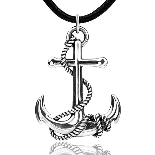925 sterling silver pirate pendants anchor necklaces and chain with white gold for men ship wheel long nautical anchor sailor jewelry gifts