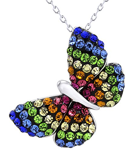 AFFY Rainbow Crystal Butterfly Charm Pendant in 14k White Gold Over Sterling Silver ()