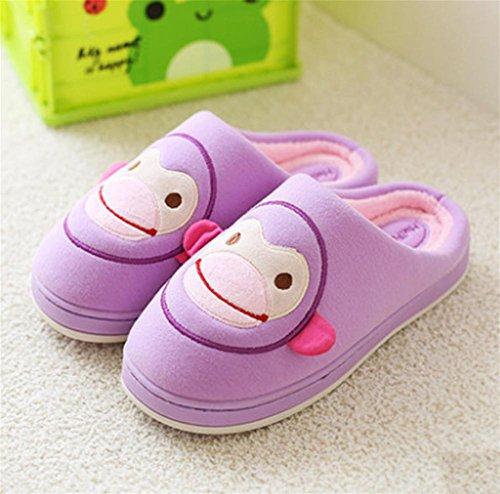 Hausschuhe, Mund Affe Winter Baumwolle Hausschuhe, Innen-Zuhause Hause rutschfeste weichen Boden Holzboden dicke koreanische Version der schönen Baumwoll-Schuhe purple
