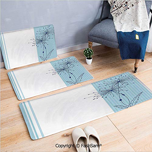 FashSam 3 Piece Flannel Bath Carpet Non Slip Vertical Long Lines with a Single Flower Figure Simplistic Illustration Image Front Door Mats Rugs for Home(W15.7xL23.6 by W19.6xL31.5 by ()